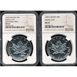Lot of (2) 1999 Canada Maple Leafs NGC MS67. One with Fireworks Privy