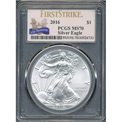 U.S. 2016 $1 American Silver Eagle PCGS MS70 First Strike 30th Anniversary