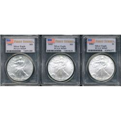 U.S. 2002, 2003 & 2004 $1 American Silver Eagle PCGS MS69 First Strike