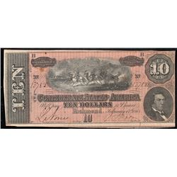 1864 Confederate States of America $10.00 Note Type 68/550