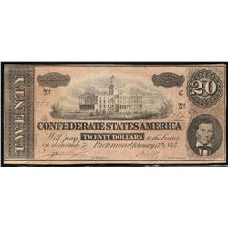 1864 Confederate States of America $20.00 Note Type 67/507
