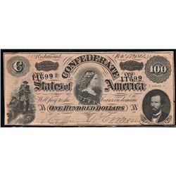 1864 Confederate States of America $100.00 Note Type 65/490