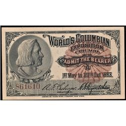 1893 Columbian Expo Columbus Vignette Ticket #B61610