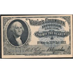 1893 Columbian Expo George Washington Vignette Ticket