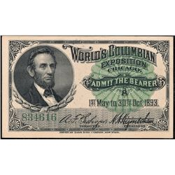 1893 Columbian Expo Abraham Lincoln Vignette Ticket #B34616