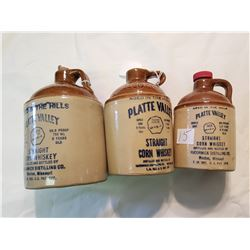3 McCormick Corn Whiskey Jugs