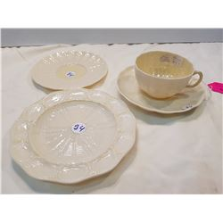 Belleek Cup and Saucer and 2 plates