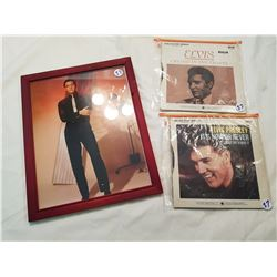 Elvis Picture and 2 Rare 45 Records