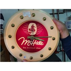 1950s Mchale Advertising Light Up Clock