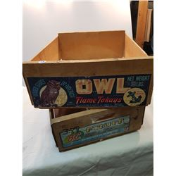 Two Wooden Crates -Owl + BC Fruit