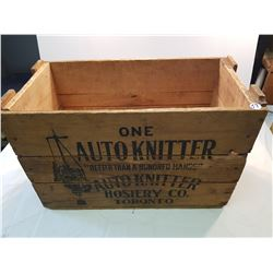 Rare Auto Knitter Hosiery Wood Crate
