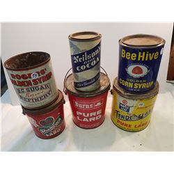 Lot of 6 Lard Syrup and Cocoa Tins