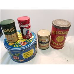 Lot of 5 Tin cans mixed