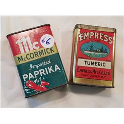 2 Spice Tin Cans -Empress + McCormick