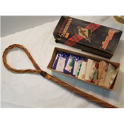 Antique Rug Beater Plus Old Buttons in Box