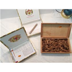 3 Tobacco Boxes -1 wooden with Tobacco Leaves 2-Carbouard