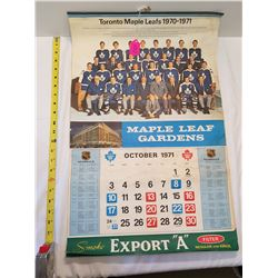 Toronto Maple Leafs 1970/71 Calendar 8 pages