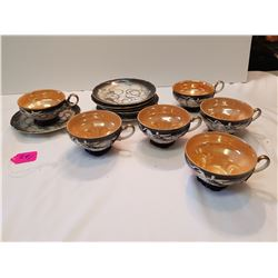 Dragonwave -6 Cups with Saucers-1 Cup Chipped