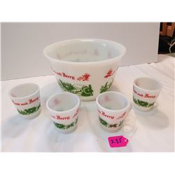 Tom and Jerry Milk Glass Punch Bowl Set -4 Cups