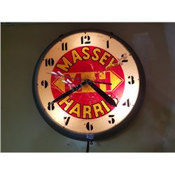 Massey Harris Clock - 50's Lights Up-Works-Glass Has Been Repaired