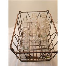 Dairy Pool Crate With 10 Milk Bottles