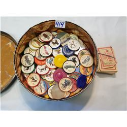 Tin with Mixed Lot Of Jello Coin Wheels and Nabob Coupons