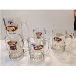 A& W Thick Glass Mugs lot of 5