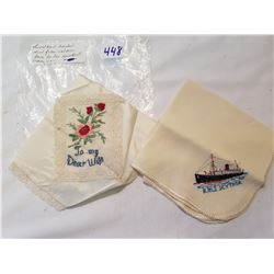 WW1 Sweetheart Handkerchief Lot of 2