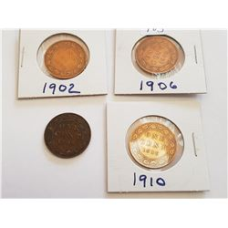 1902,1906,1909,1910, Canadian 1 cent Coins