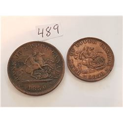 1850 Upper Canada Penny and 1850 Half Penny