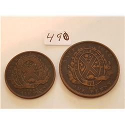 1837 Lower Canada Penny and 1844 hal Penny