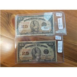 two 1923- Shinplaster 25 cent paper notes
