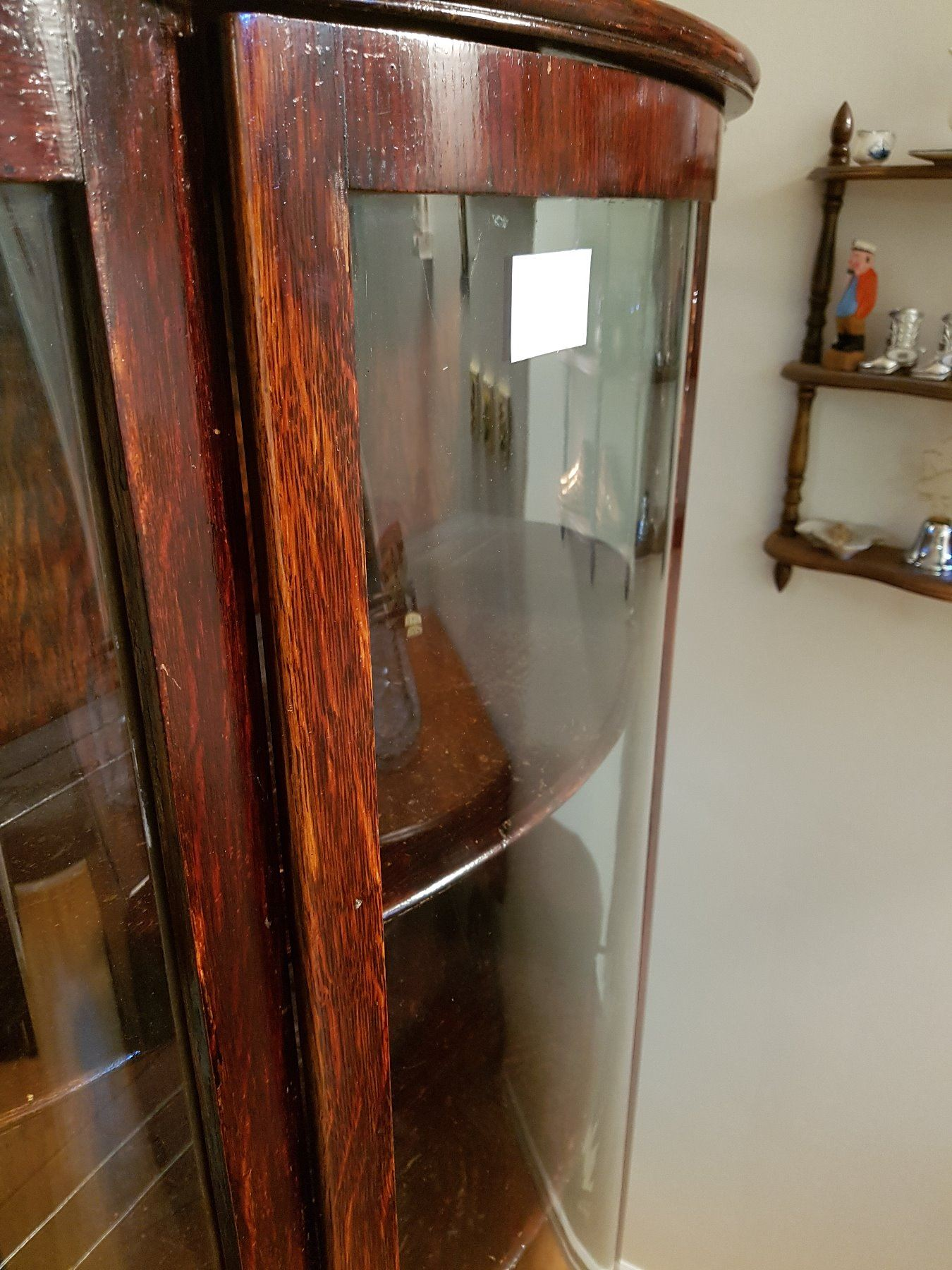 ... Image 3 : Antique Curved Glass China Cabinet With Mirror ... - Antique Curved Glass China Cabinet With Mirror