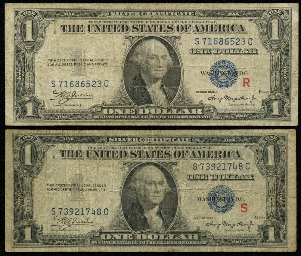 R S Experimental Pair Of 1935 A 1 One Dollar Silver Certificate Bank