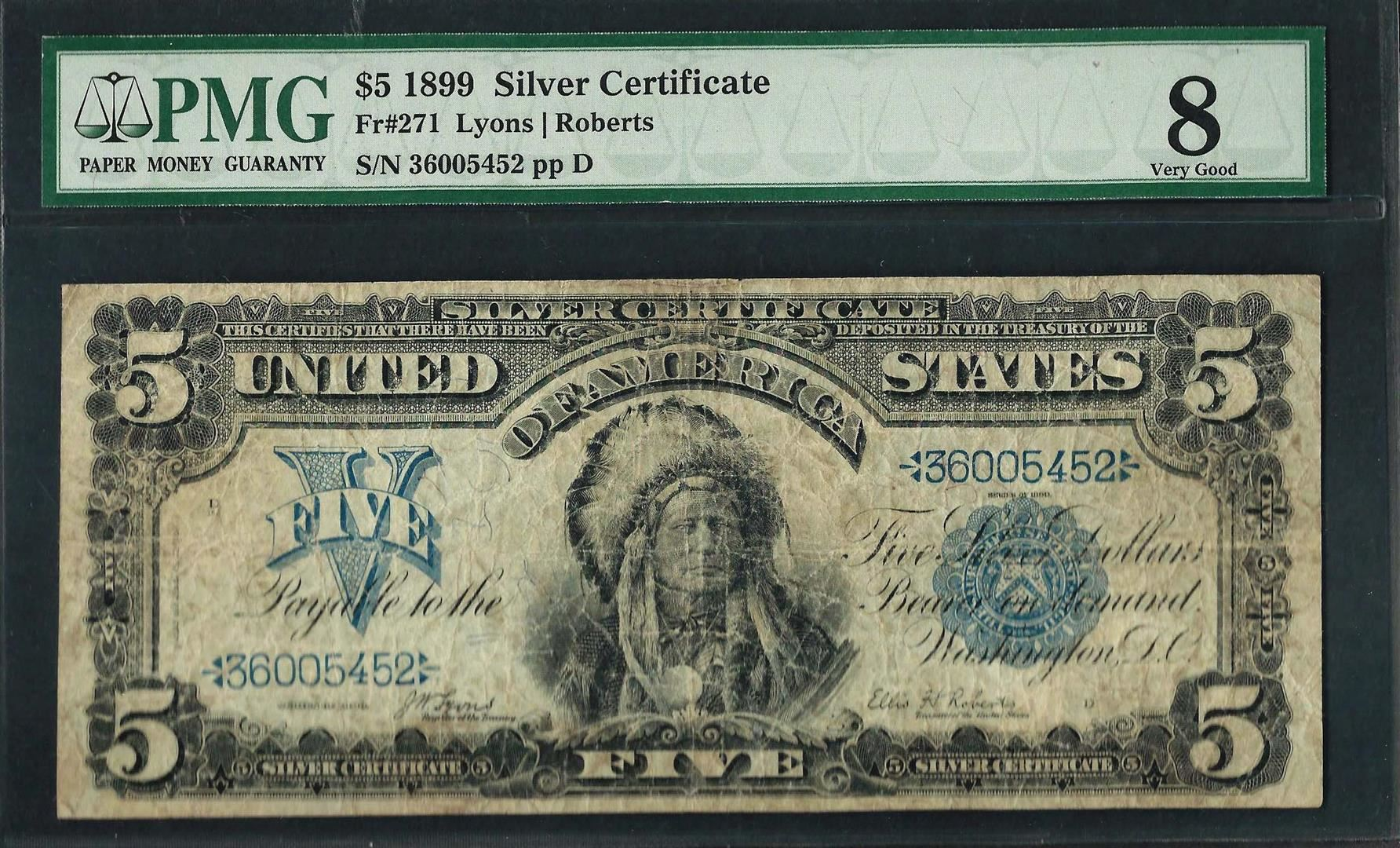 1899 5 Indian Chief Silver Certificate Note Fr271 Pmg Very Good 8