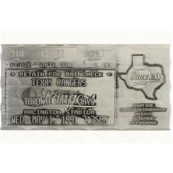 "6""X3"" METAL TEXAS RANGERS TICKET"