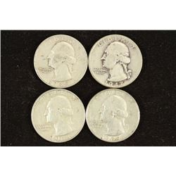 1945-S,47,63-D & 64-D WASHINGTON SILVER QUARTERS