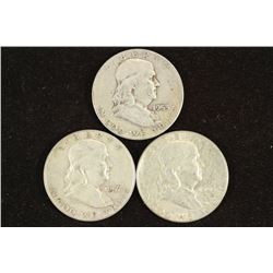 1953-D,57-D & 63-D FRANKLIN HALF DOLLARS