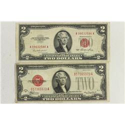 1928-D & 1953 $2 US NOTES RED SEALS