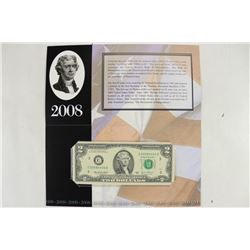 2008 PHILADELPHIA $2 SINGLE NOTE CRISP UNC