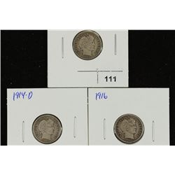 1913,14-D & 16 BARBER DIMES (ALL FINES)