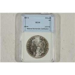1881-S MORGAN SILVER DOLLAR CASE SAYS MS64