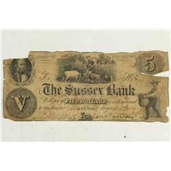 1859 SUSSEX BANK $5 OBSOLETE BANK NOTE STATE OF