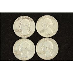 1959-D,61-D,63-D & 64-D WASHINGTON SILVER QUARTERS