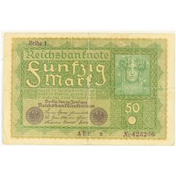 1919 GERMAN 50 MARKS LARGE SIZE NOTE