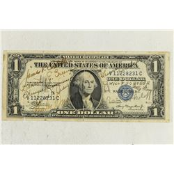 SHORT SNORTER ON 1935-A $1 SILVER CERTIFICATE