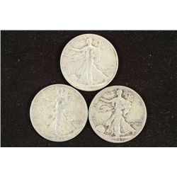 1941,42-D & 1943 WALKING LIBERTY HALF DOLLARS