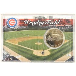 "1 1/2"" WRIGLEY FIELD 24KT GOLD FLASHED MEDALLION"
