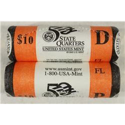2 ROLLS OF 2004-P & D FLORIDA QUARTERS UNC