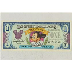 SERIES 1993-A DISNEY DOLLAR MICKEYS 65TH CRISP UNC